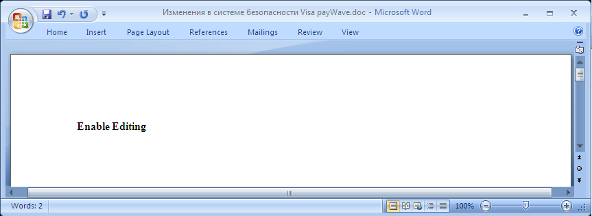 word document malware enable editing