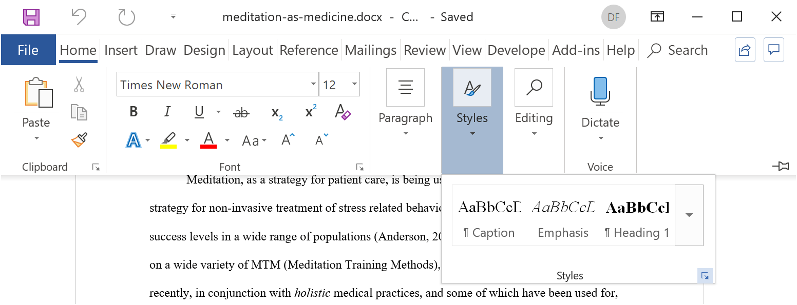display the help document insert word