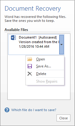 document recovery task pane powerpoint 2007 how to open