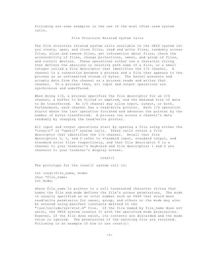 documentation for system calls unix