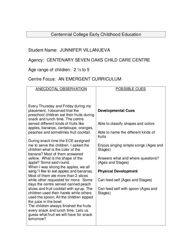 courses on early childhood documentation examples