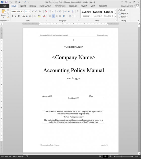 documentation of accounting procedures