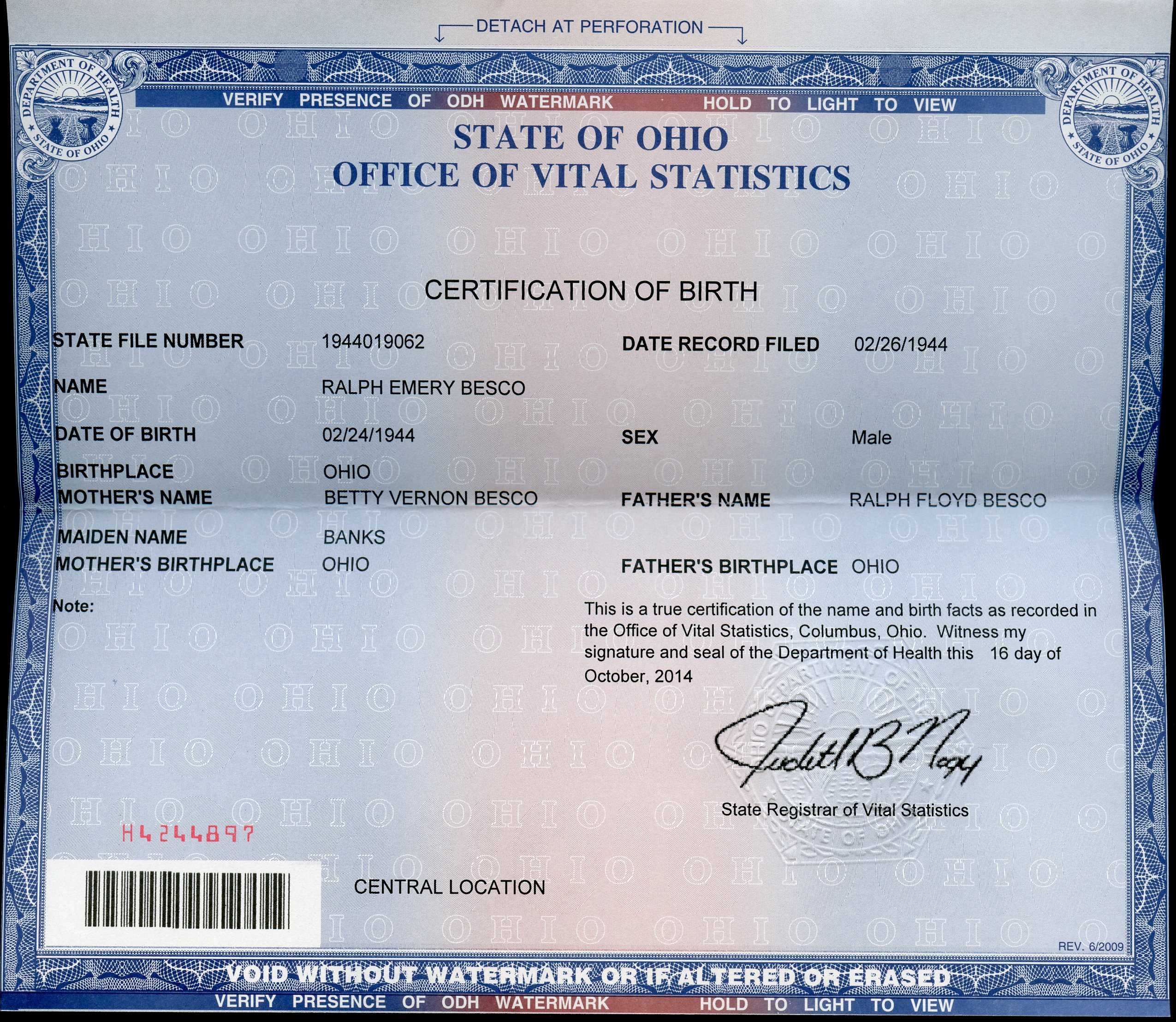 qld birth certificate document number