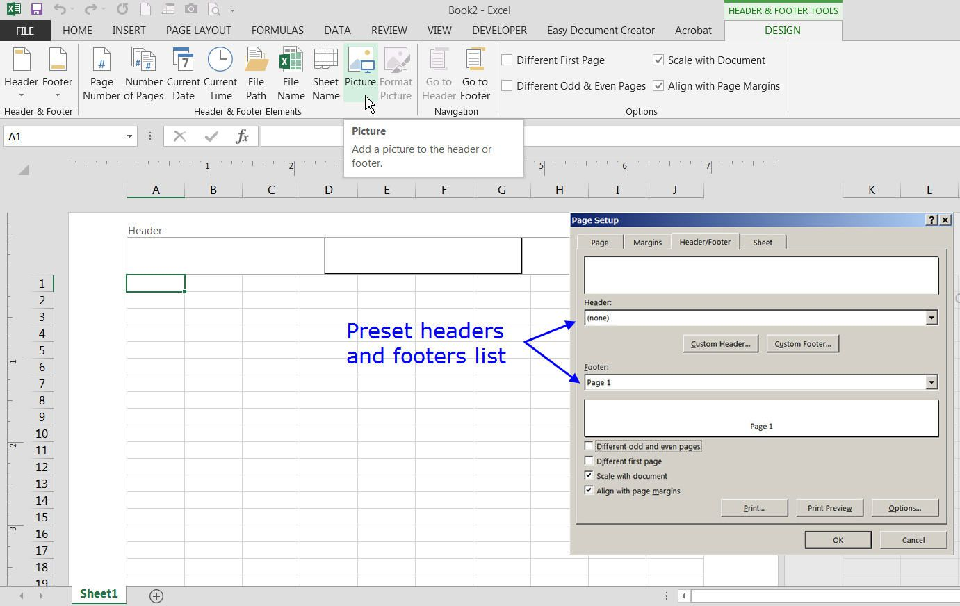 excel add document properties to footer