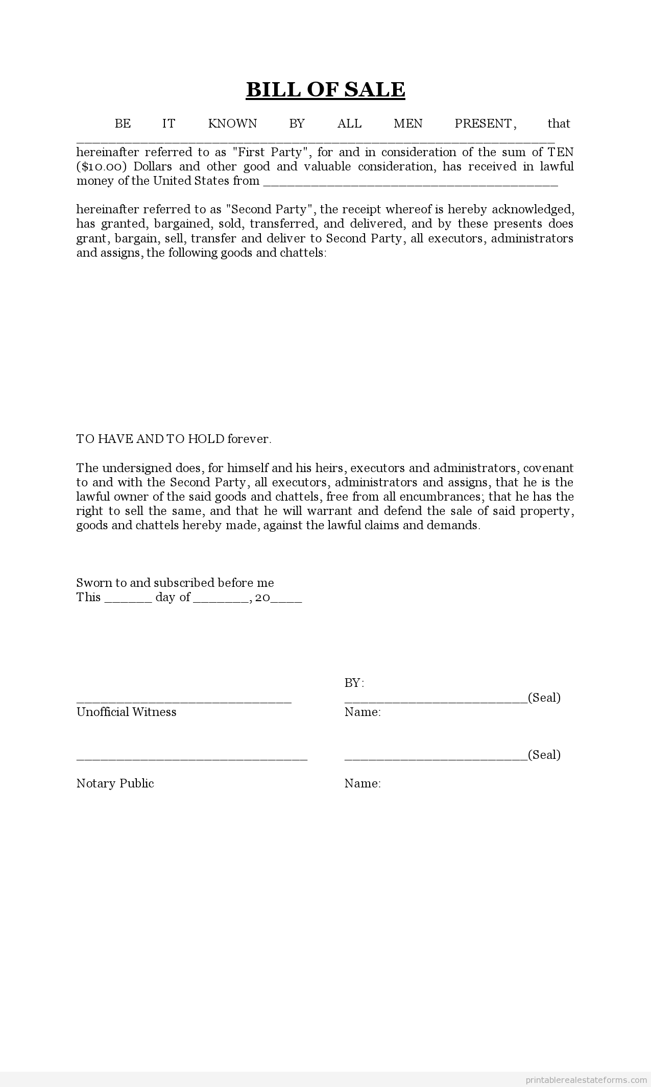 bill of sale word document