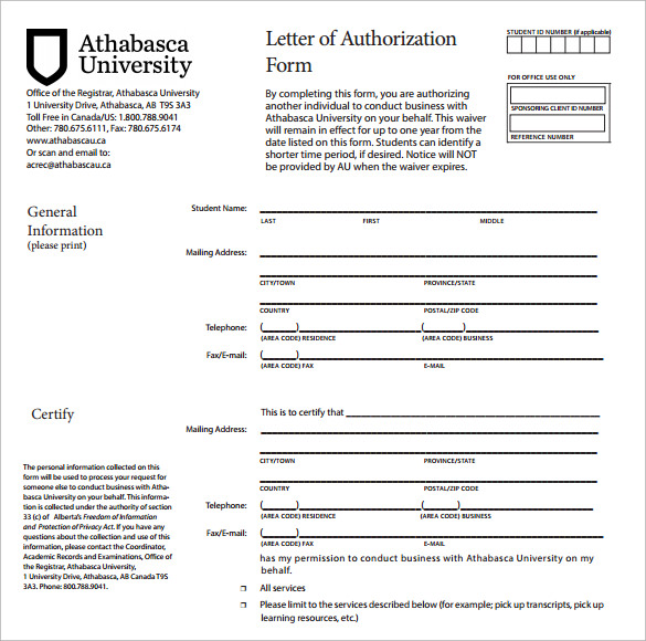 sample of authorization letter to request a document