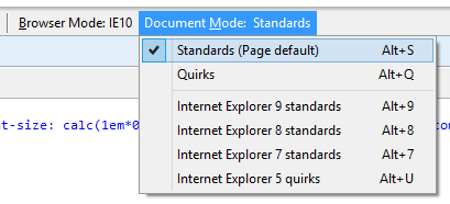 how to change document mode in ie programmatically