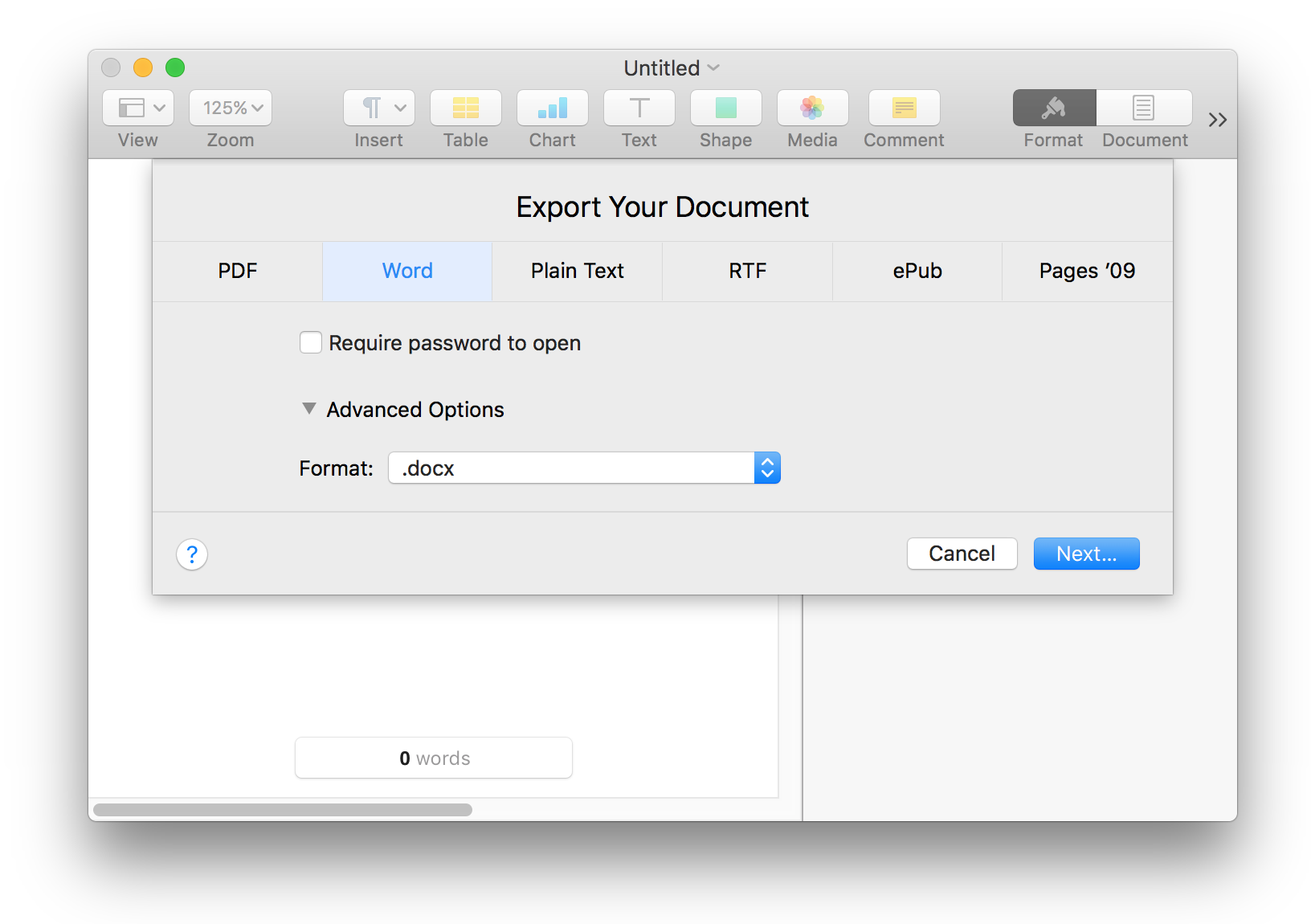 how to export word document to ipad from mac