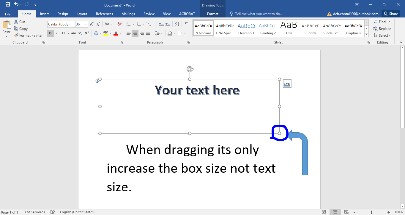 how to increase text box length in a word document