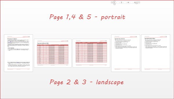 how to insert a landscape page in portrait document