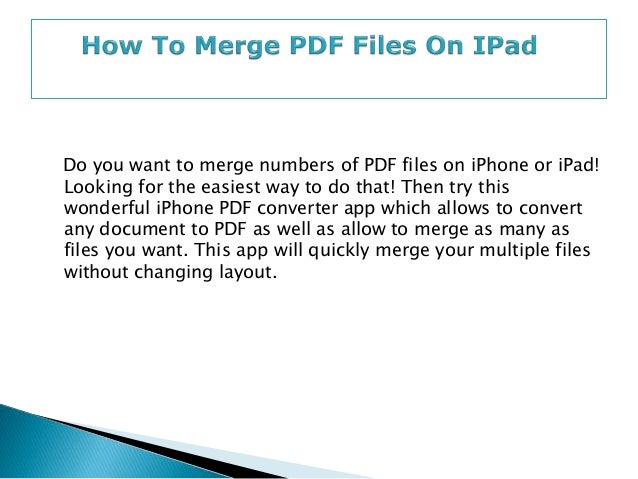 how to join pdf files into one document