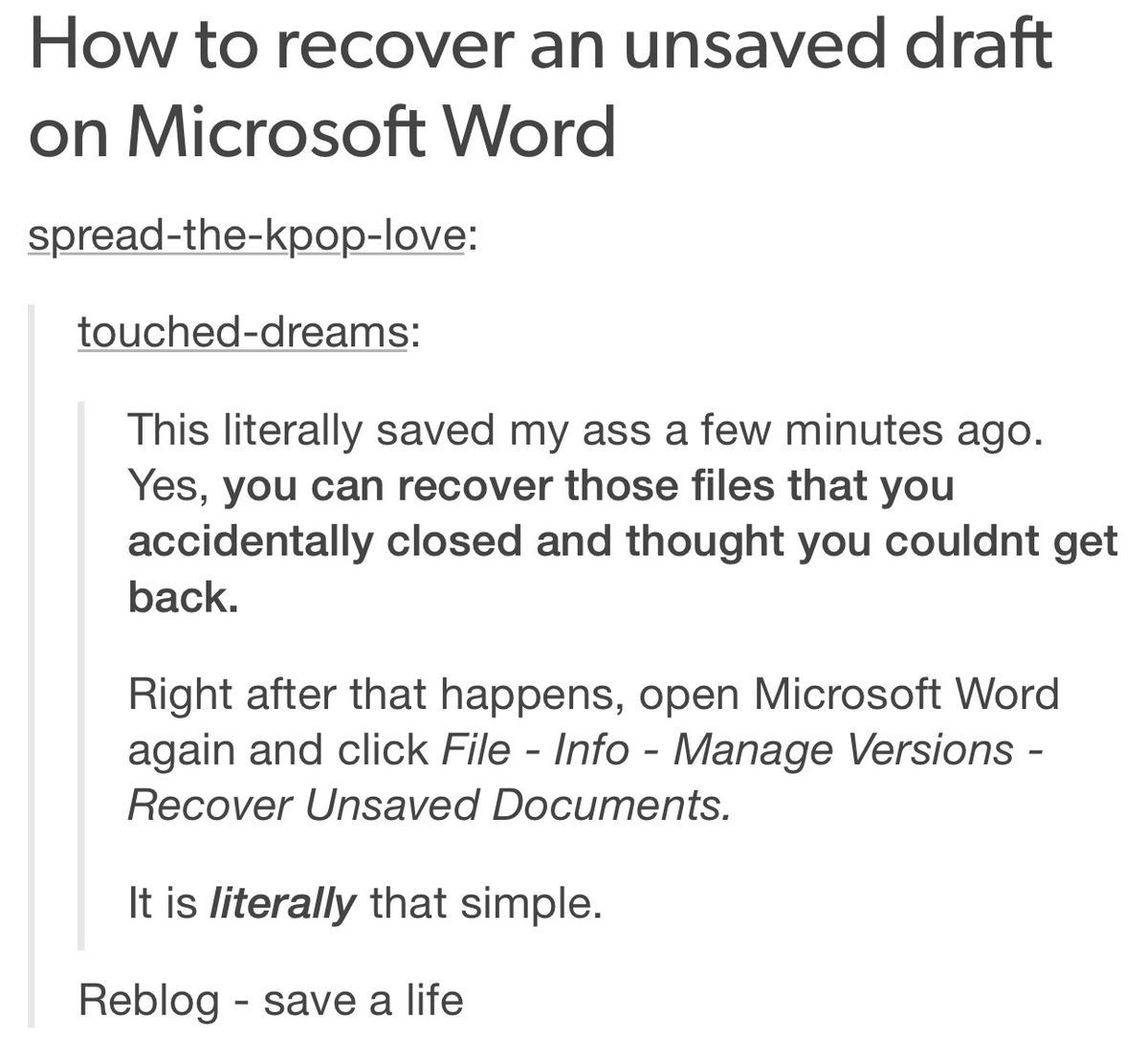 how to recover the unsaved word document