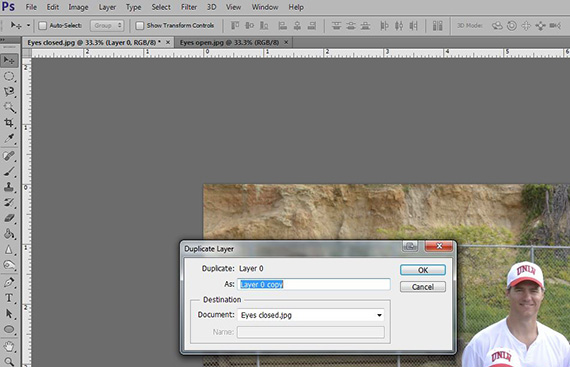 photoshop open new document from layer