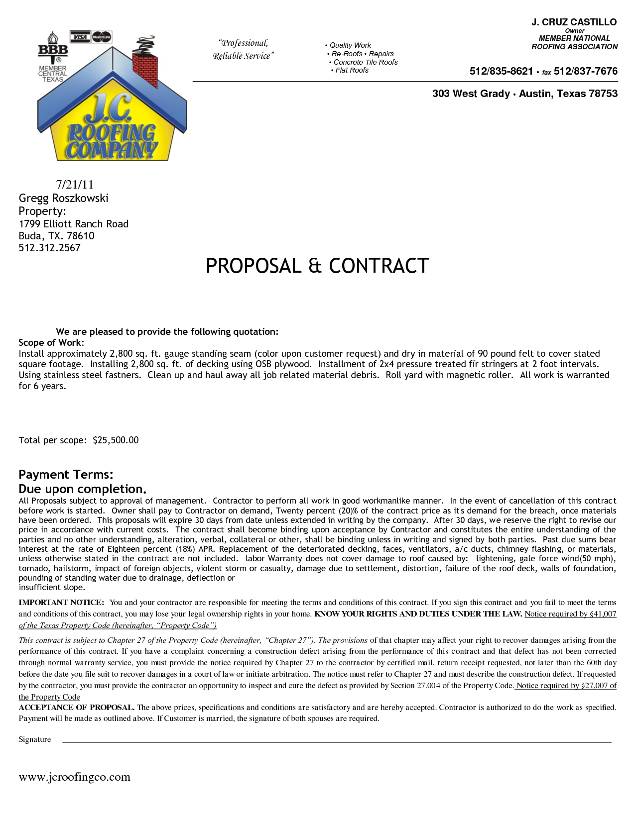 sample contract document for construction