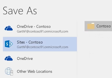 saving a word document to onedrive