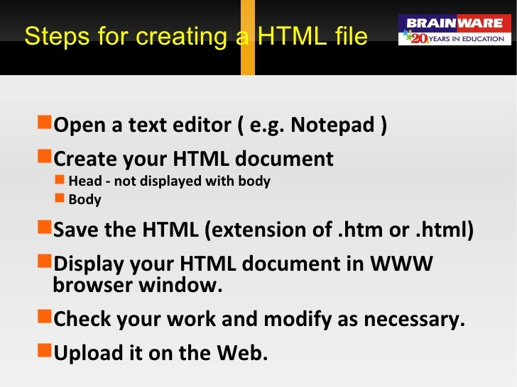 steps to create html document