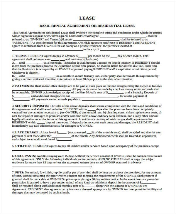 tenancy agreement room only document wa