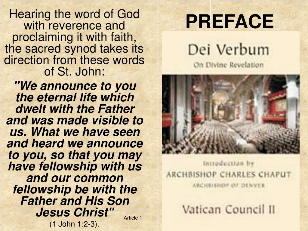 vc2 document dei verbum 1965 dogmatic constitution on divine revelation