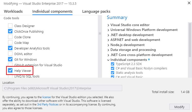 visual studio 2017 documentation offline